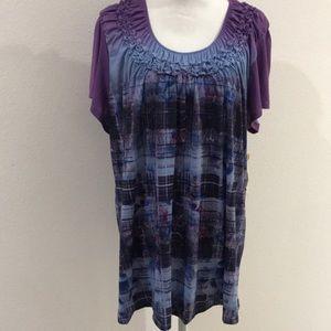 NWT Purple $ Pink Short Sleeve Blouse 3X